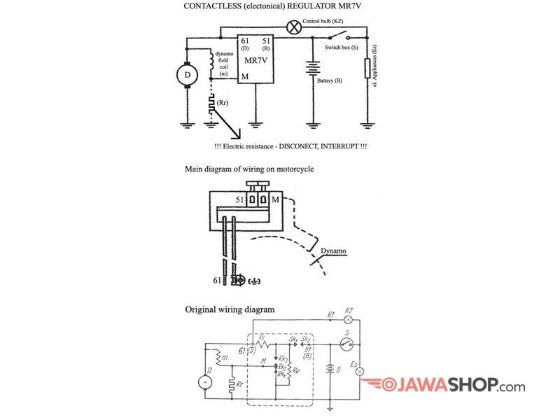 Electronic regulator 6V 45W - positive pole - JawaShop.com on
