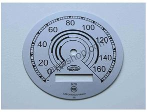 Speedometer plate 160kmh - silver PAL (Jawa 500 ohc) /