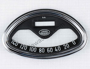 Glass of speedometer 140 km/h w/frame / Jawa 350 type 360