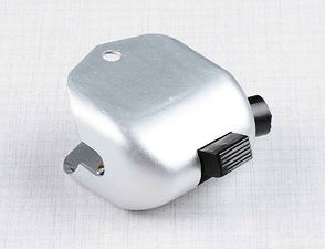 Lights switch, horn button with side hole (Al) (Jawa, CZ Kyvacka) /