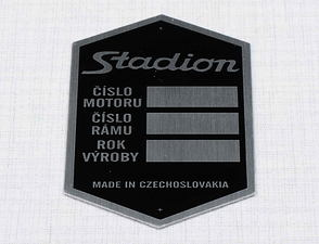 Type plate - printed, black (Stadion) /
