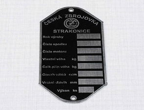 "Type plate - etched ""STRAKONICE"" (CZ 125,175,250) /"