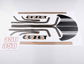 Sticker set Cezet 350 - black / golden (CZ 472) /