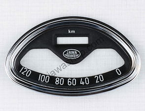 Glass of speedometer 120 km/h with frame (Jawa 250 Panelka) /