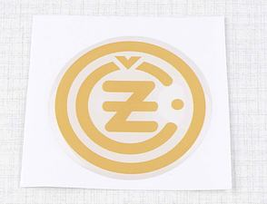 "Sticker ""CZ"" 50mm - white / golden (3D) / CZ"