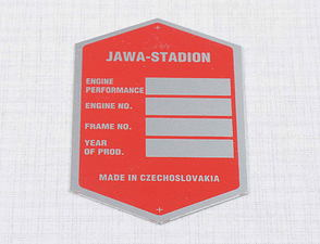 Type plate - printed, red, English (Stadion) /