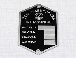"Type plate - etched ""STRAKONICE"" (CZ 125,150 B,C,T) /"