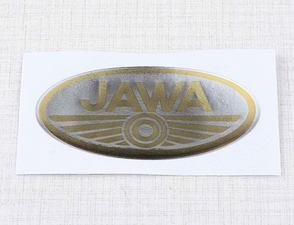 Sticker logo Jawa 70x35mm - silver / golden (3D) /