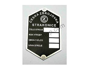 Type plate  - printed (CZ 125,150 B,T,C) /