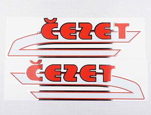 "Fuel tank sticker set ""cezet"" 263x77mm - red (CZ 487) /"
