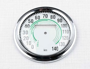 Glass of speedometer 140 km/h with frame - green (Jawa 350 Kyvacka) /