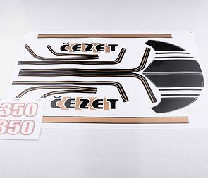 Sticker set Cezet 350 - black / golden / CZ 472