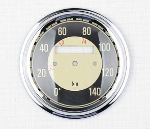Glass of speedometer 140 km/h with frame - black (Jawa 350 Kyvacka) /