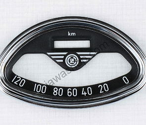 Glass of speedometer 120 km/h with frame (CZ 450 - 455) /